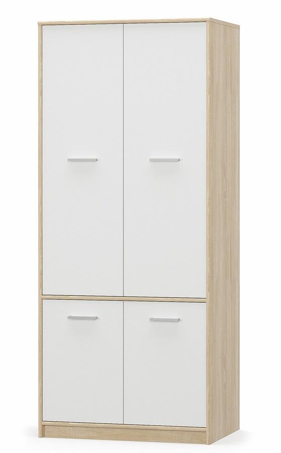 Šatní skříň TIPS 4D dub sonoma/bílá mat