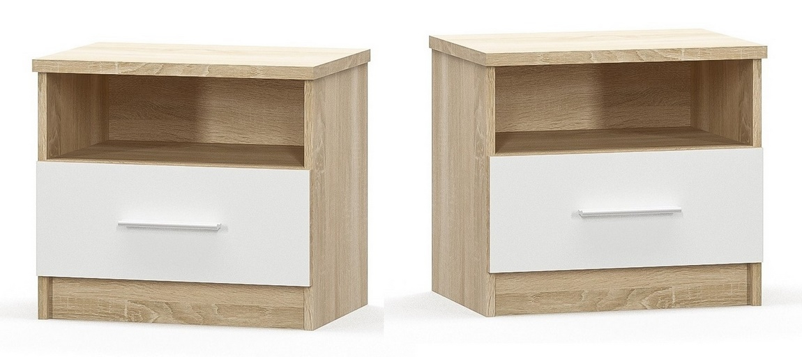Noční stolek 2 ks MARKOS dub sonoma/bílá