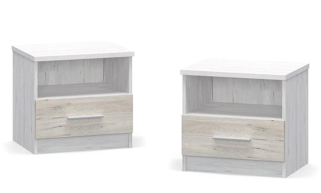 Noční stolek KIM 2ks dub bílý/san remo