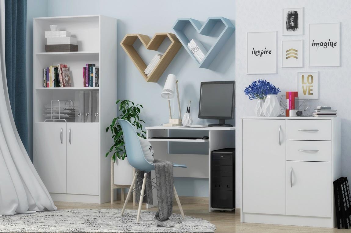 Sestava COMBINO (regál, PC stůl,komoda) bílá