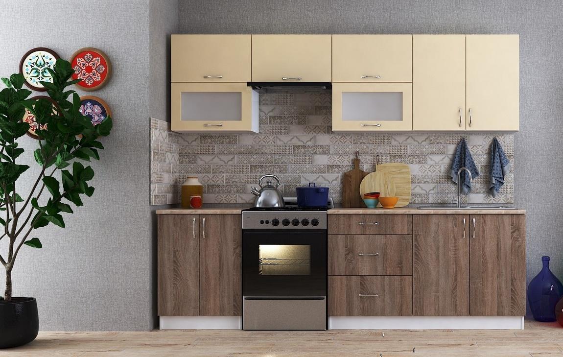 Kuchyně SUNRISE 260 tmavá sonoma/vanilka