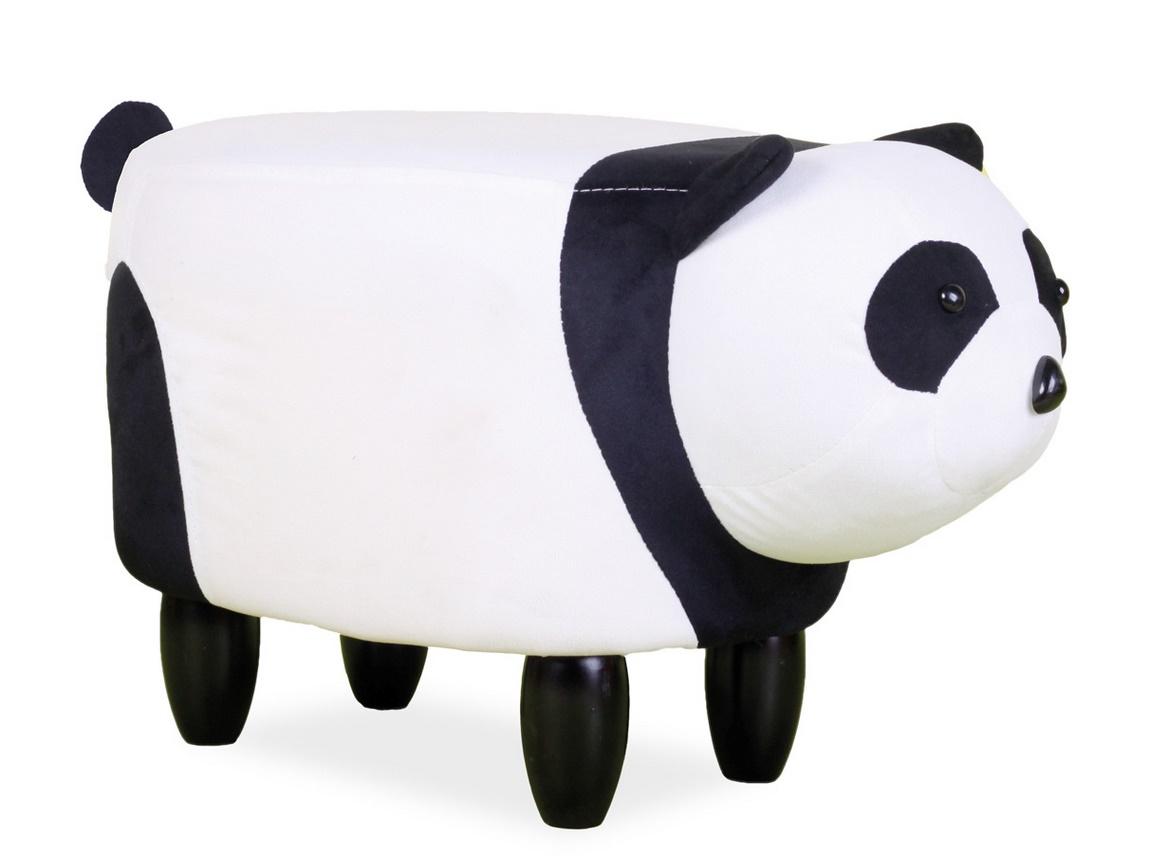 Čalouněný taburet PANDA PAULINKA černá/bílá