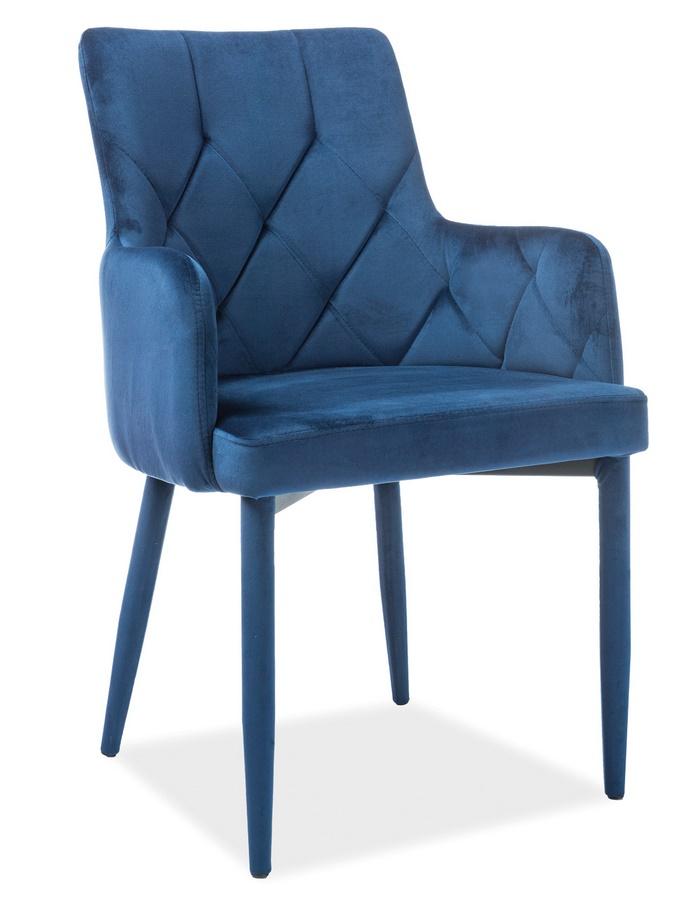 Jídelní čalouněná židle RICARDO VELVET modrá
