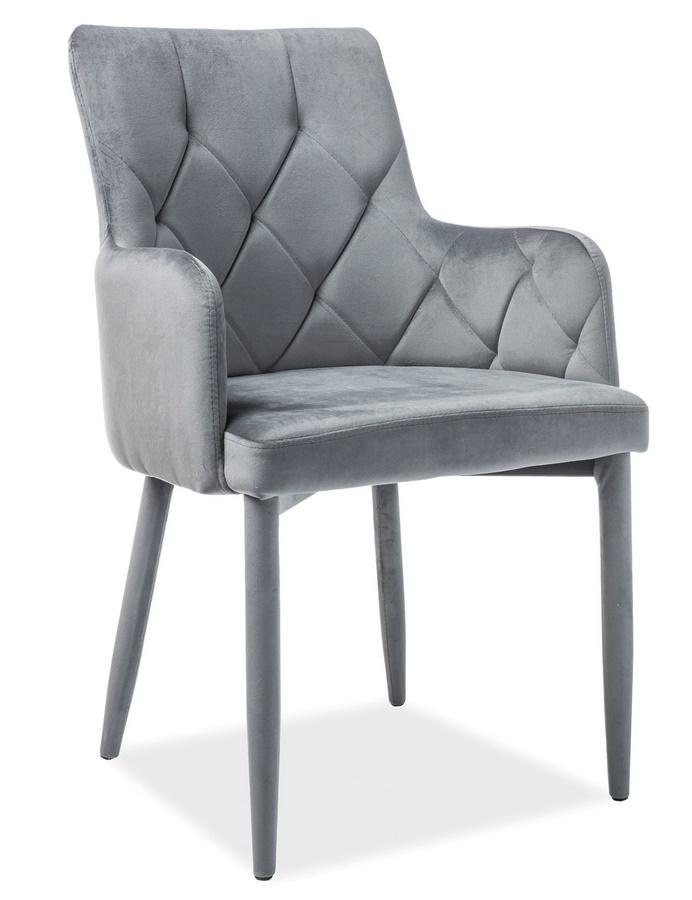 Jídelní čalouněná židle RICARDO VELVET šedá