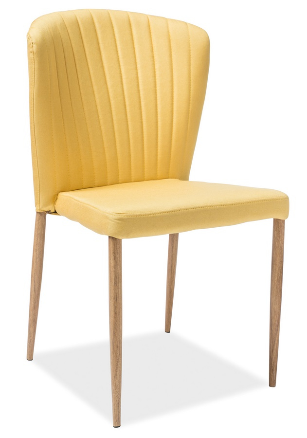Jídelní čalouněná židle POLLY žlutá/dub