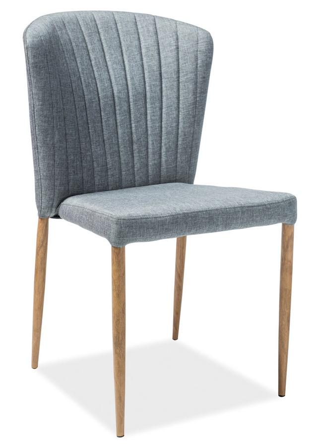 Jídelní čalouněná židle POLLY šedá/dub