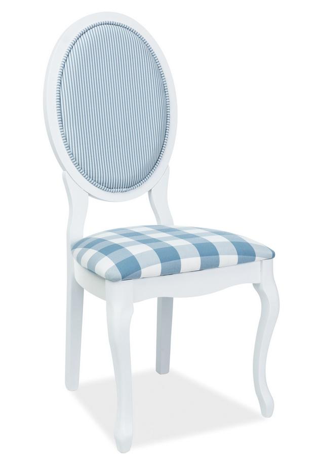 Jídelní čalouněná židle LV-SC bílá/bílo-modrá
