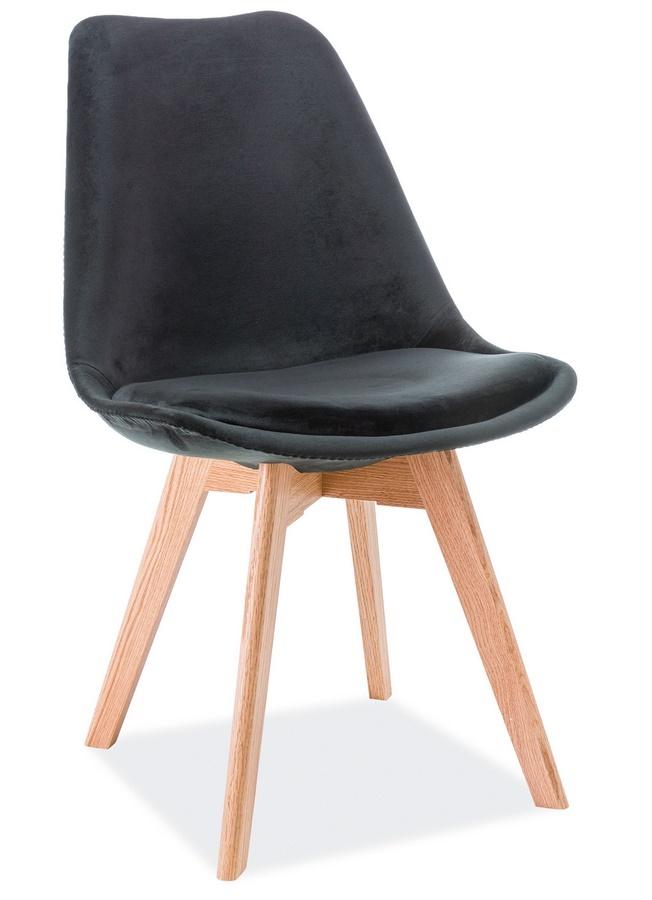 Jídelní čalouněná židle DIOR VELVET černá/dub