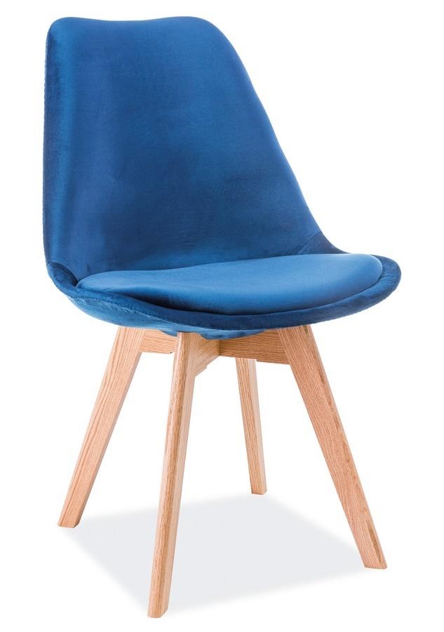 Jídelní čalouněná židle DIOR VELVET modrá/dub