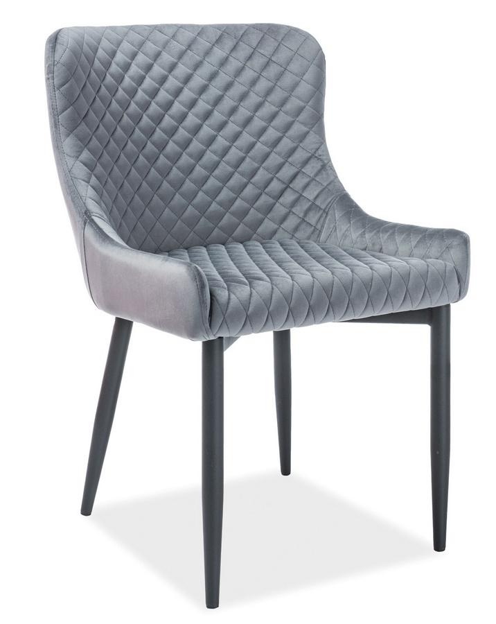 Jídelní čalouněná židle COLIN B VELVET šedá/černá
