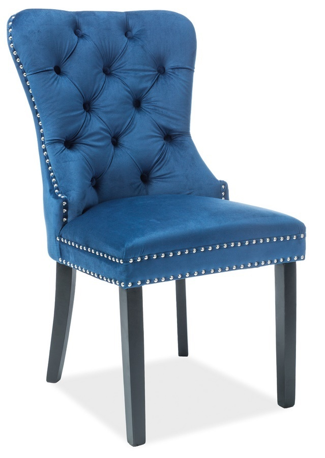 Jídelní čalouněná židle AUGUST VELVET modrá/černá