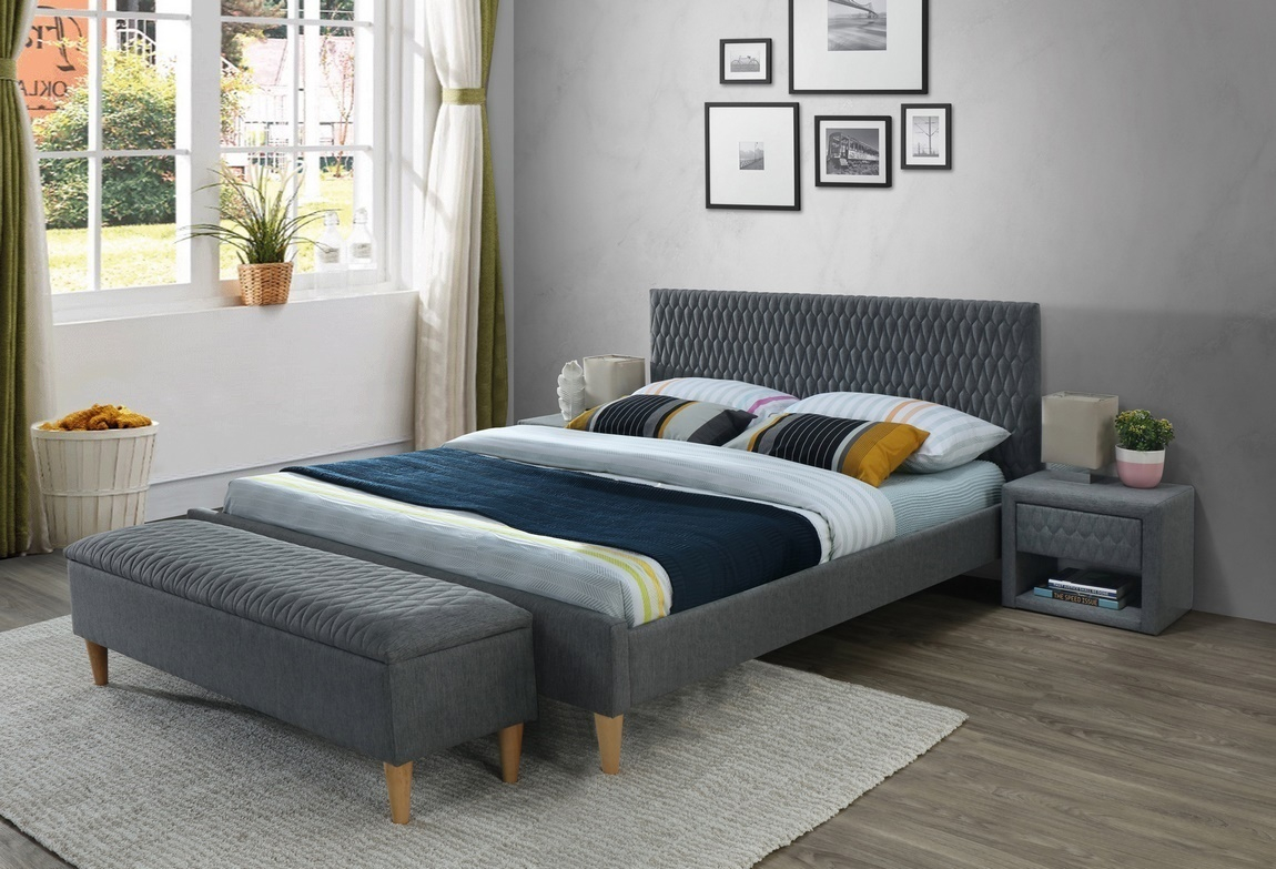 Čalouněná postel AZURRO 160x200 šedá/dub