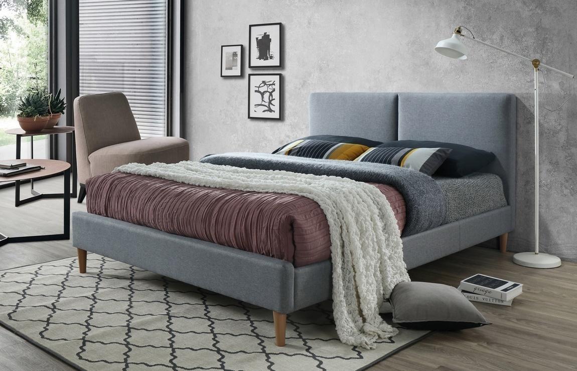 Čalouněná postel ACOMA 160x200 šedá/dub