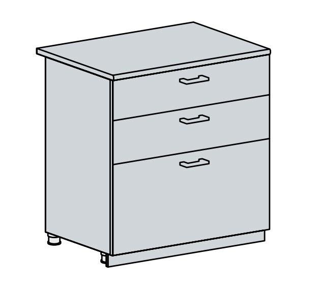 80D3S d. skříňka 3-zásuvková VALERIA wk/bílá lesk