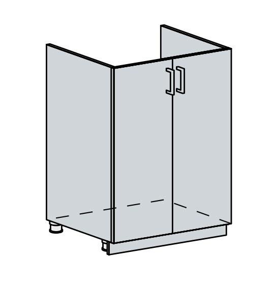 60DZ d. skříňka 2-dveřová pod dřez VALERIA wk/bílá lesk
