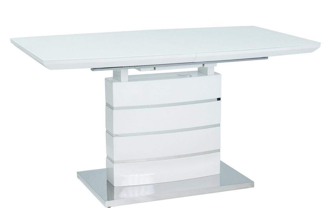Jídelní stůl rozkládací LEONARDO bílá/nerez