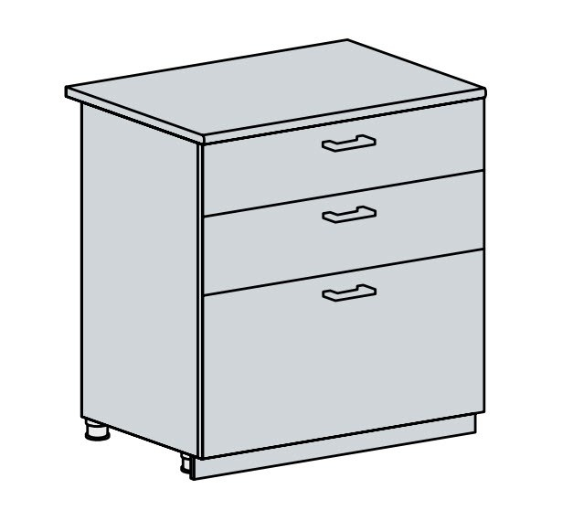 80D3S d. skříňka 3-zásuvková PRAGA bk/bílá