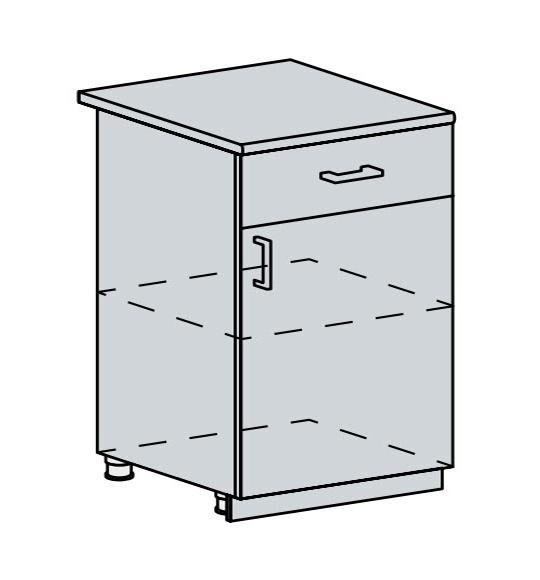 60D1D1S d. skříňka 1-dveřová se zásuvkou PRAGA bk/bílá
