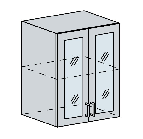 60HS h. vitrína 2-dveřová PRAGA bk/bílá