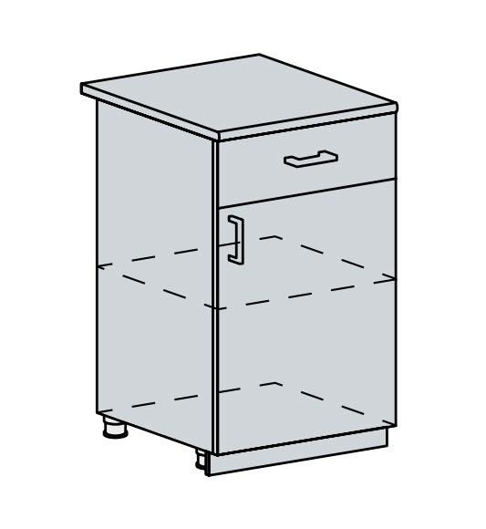 50D1S d. skříňka 1-dveřová se zásuvkou PRAGA bk/bílá