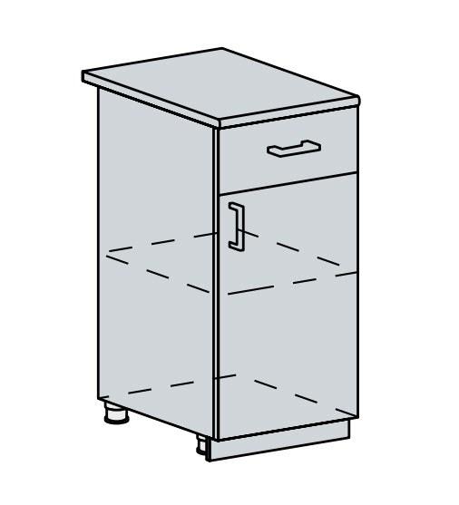 40D1S d. skříňka 1-dveřová se zásuvkou PRAGA bk/bílá
