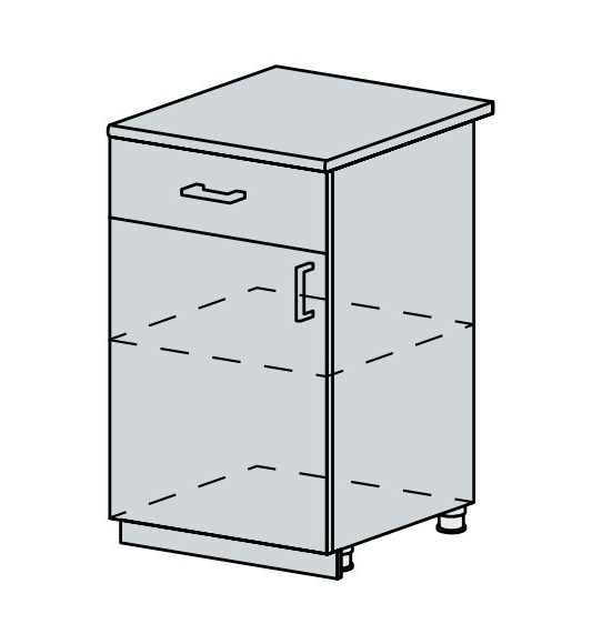 50D1S d. skříňka 1-dveřová se zásuvkou VERONA jasan šimo