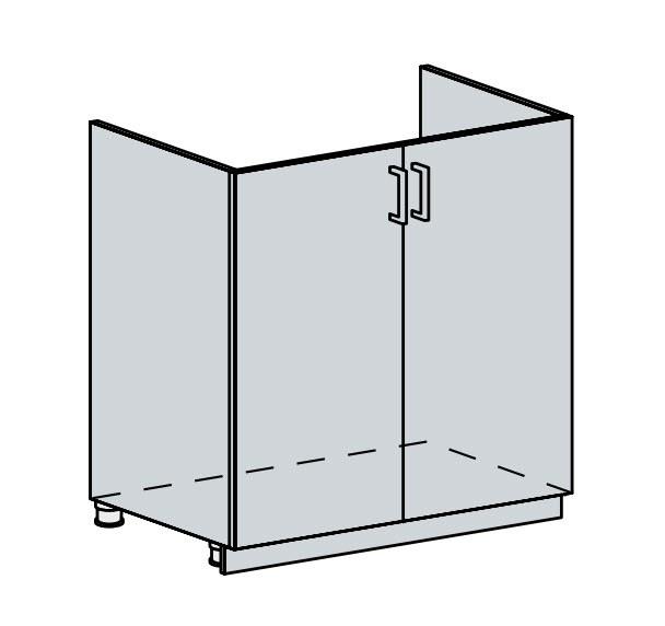 80DZ d. skříňka 2-dveřová pod dřez VICTORIE bílý santál