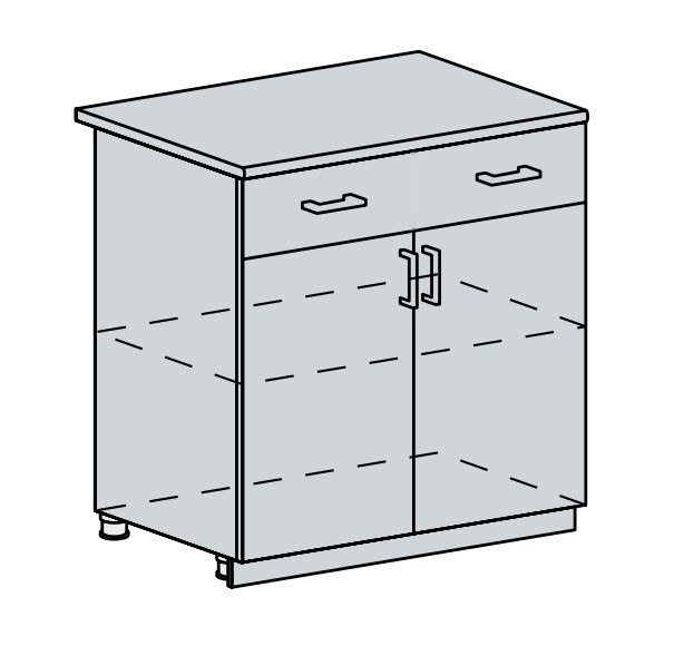 80D1S2 d. skříňka 2-dveřová se zásuvkou VICTORIE bílý santál