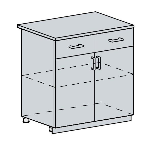 80D1S2 d. skříňka 2-dveřová se zásuvkou PROVENCE šedá