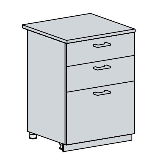 60D3S d. skříňka 3-zásuvková PROVENCE šedá