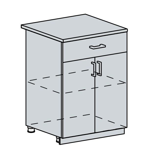 60D1S d. skříňka 2-dveřová se zásuvkou PROVENCE šedá
