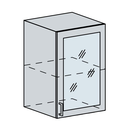 50HS h. vitrína 1-dveřová PROVENCE šedá