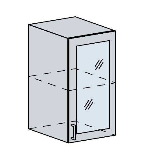 40HS h. vitrína 1-dveřová PROVENCE šedá
