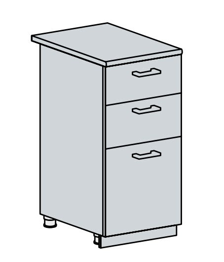 40D3S d. skříňka 3-zásuvková PROVENCE šedá