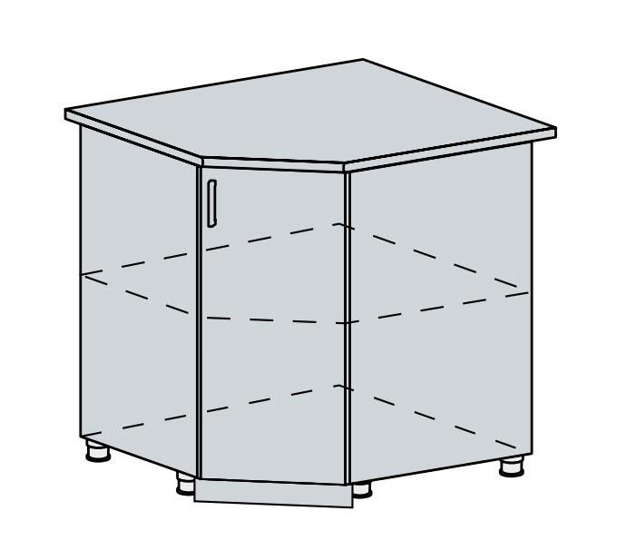 90DRS d. skříňka rohová PROVENCE světle modrá