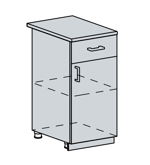 40D1S d. skříňka 1-dveřová se zásuvkou PROVENCE světle modrá
