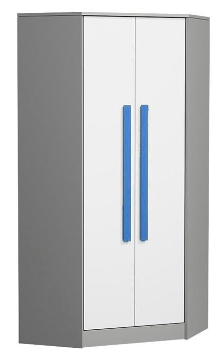 Rohová šatní skříň GYT 2 antracit/bílá/modrá