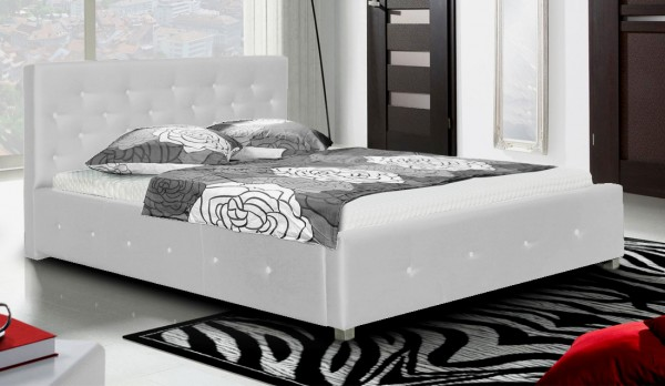 *Čalouněná postel LUBNICE IV 160 Swarovski M120 bílá