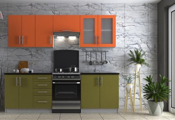 Kuchyně ELITE 240 olive/orange