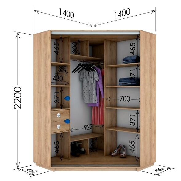 Šatní skříň rohová CORA 140 sonoma/zrcadlo