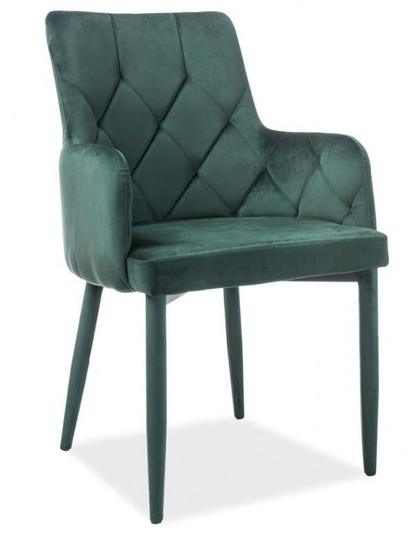 Jídelní čalouněná židle RICARDO VELVET zelená