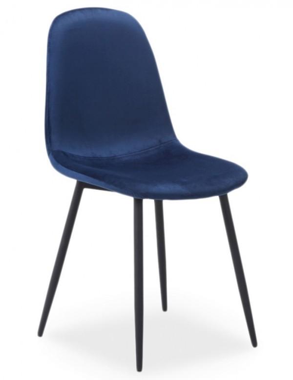 Jídelní čalouněná židle FOX VELVET modrá/černá