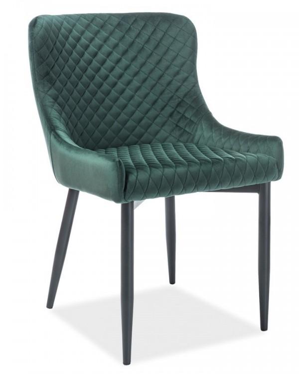 Jídelní čalouněná židle COLIN B VELVET zelená/černá