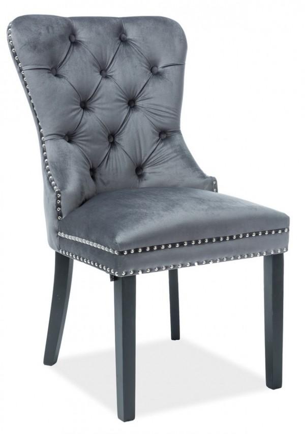Jídelní čalouněná židle AUGUST VELVET šedá/černá