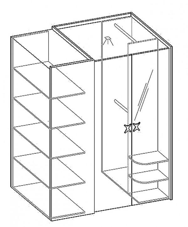 Šatní rohová skříň POK II PO-00 pravá