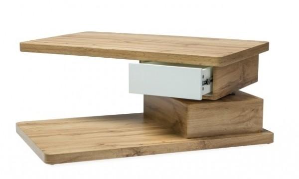 Konferenční stolek LORA dub/bílá mat