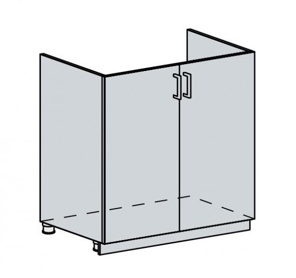 80DZ d. skříňka 2-dveřová pod dřez VALERIA wk/bílá lesk