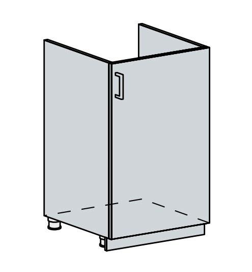 50DZ d. skříňka 1-dveřová pod dřez VALERIA wk/bílá lesk