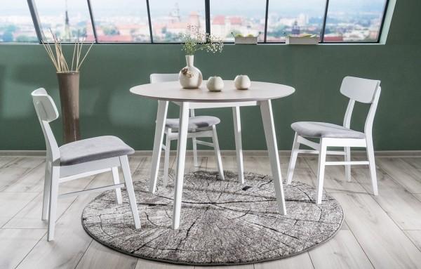 Jídelní stůl MOSSO II 100 dub bělený/bílá