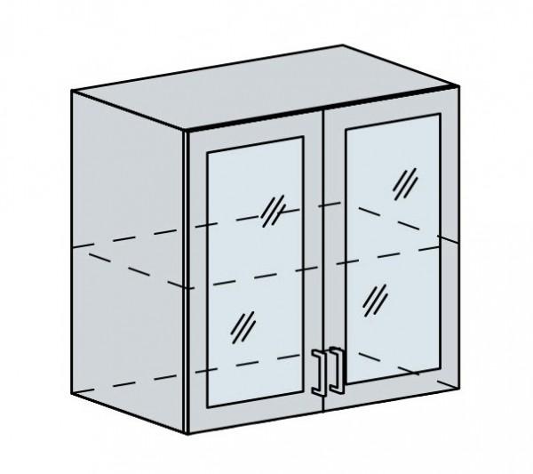 80HS h. vitrína 2-dveřová PRAGA bk/bílá